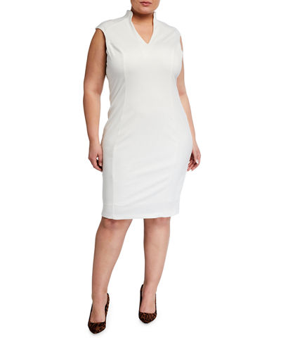 Plus Size Katrina Solid V-Neck Cap-Sleeve Sheath Dress