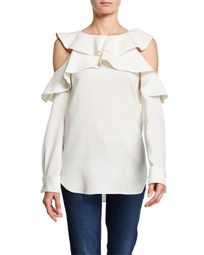 Silk Ruffle Cold-Shoulder Blouse