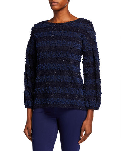 Bobble Knit Puff-Sleeve Sweater