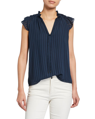 Jane Tie-Neck Cap-Sleeve Top