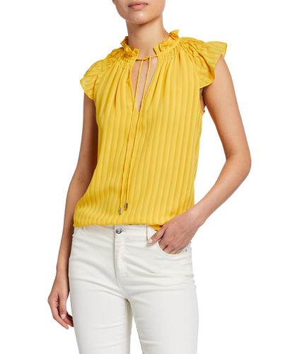 Ramy Brook Jane Tie-Neck Cap-Sleeve Top