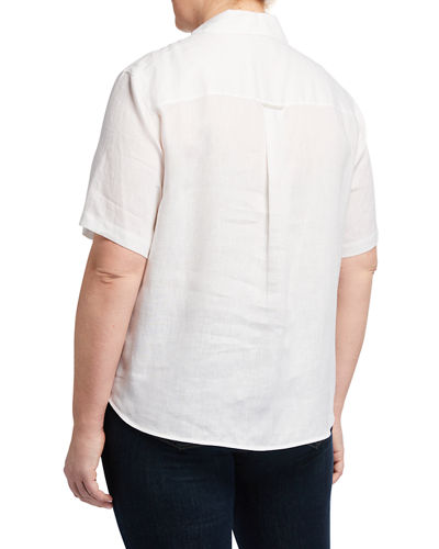 Plus Size Sublime Justice Button-Front Short-Sleeve Linen Blouse