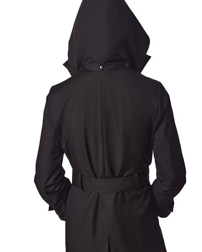 Belted Trench Coat with Removable Hood