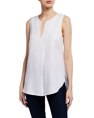 Caftan-Neck Sleeveless Linen Top