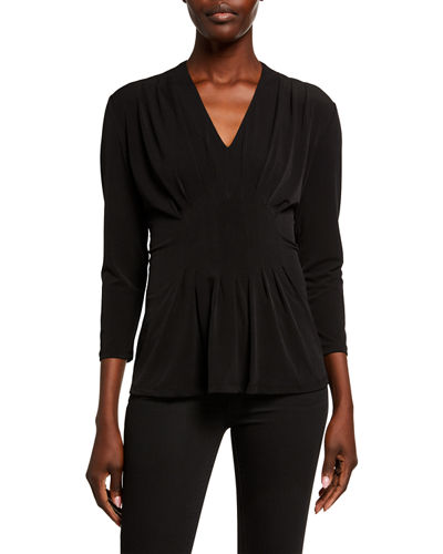 Inverted Pleated 3/4 Sleeve Top