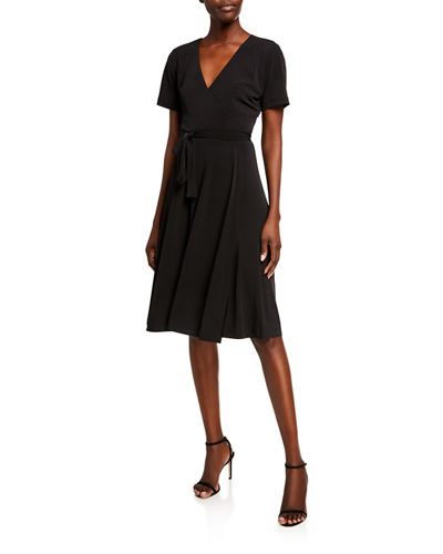 Faux Wrap Fit-&-Flare Dress