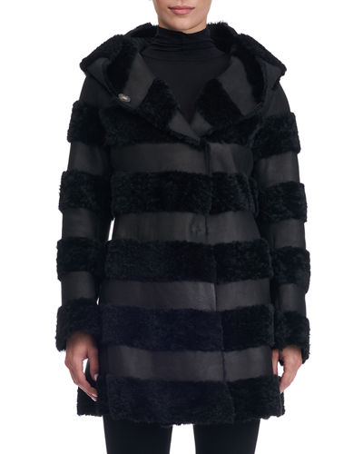 Gorski Hooded Leather Jacket with Fur Stripes