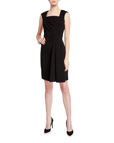 Square-Neck Ruched Sheath Dress