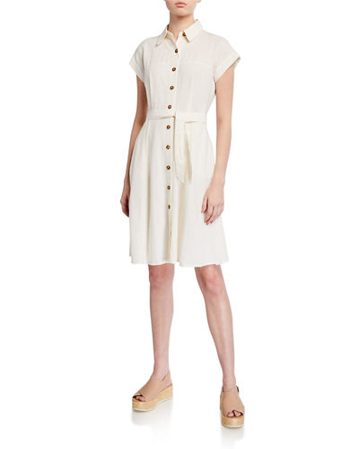 Button Down Belted Linen-Blend Dress
