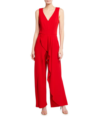 Sleeveless Draped Cascade Jumpsuit