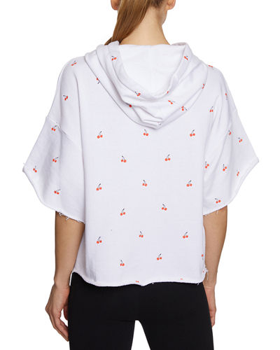 Cherry-Print Raw-Edge Hooded Crop Sweatshirt