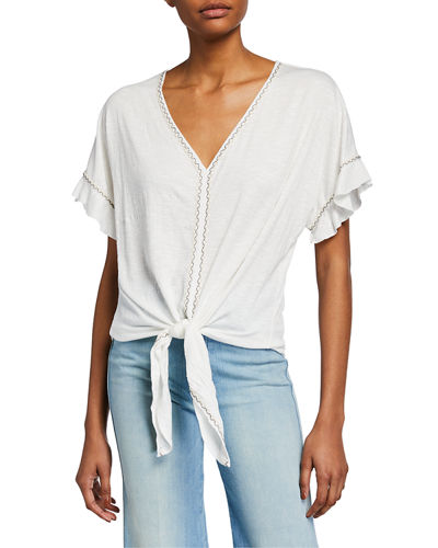 V-Neck Tie-Front Ruffle-Sleeve Top