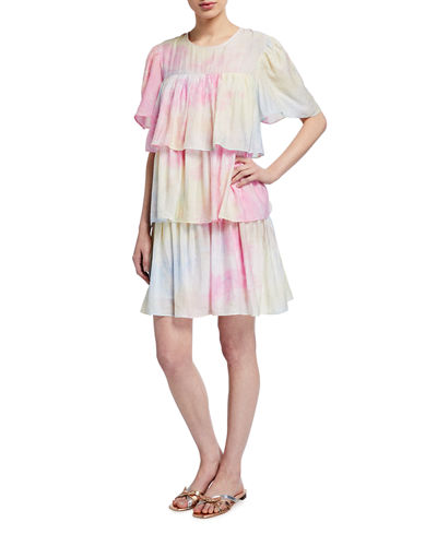 Tie-Dye Tiered Ruffle Dress