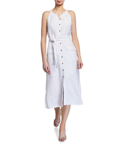 Linen Sleeveless Button-Down Midi Dress