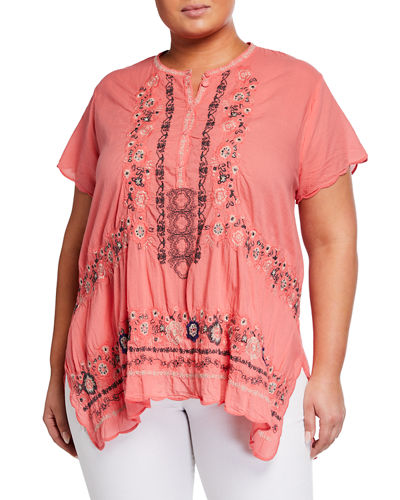 Plus Size Kones Floral Embroidered Tunic