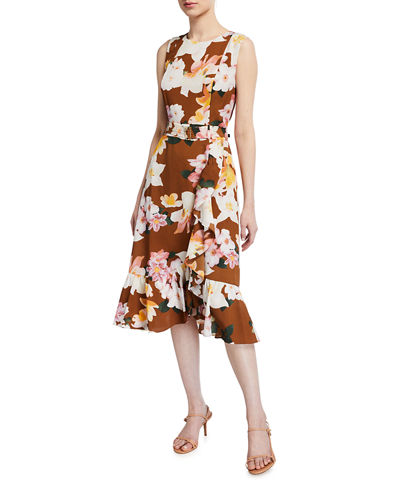Floral-Print Sleeveless Ruffle Belted Dress