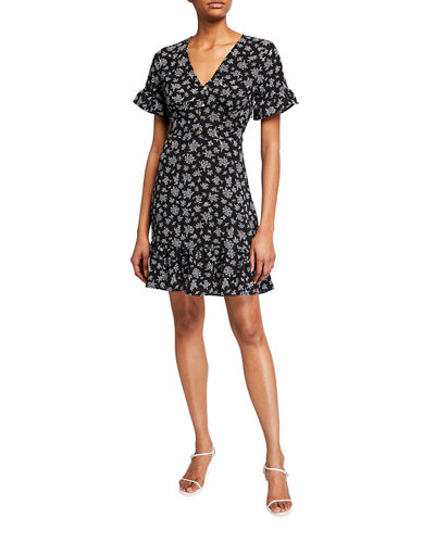 Printed Button Down Flounce Dress