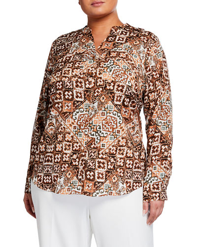 CALVIN KLEIN Plus Size Floral-Print Button-Up Blouse