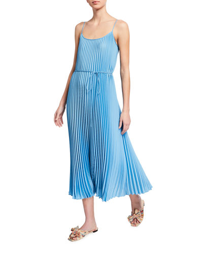 Pleated Cami Maxi Dress with Waist Tie