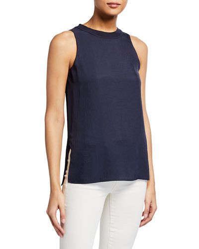Sleeveless Crew-Neck Top with Ribbed Trim