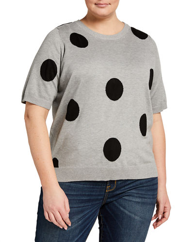 Plus Size Polka Dot Short-Sleeve Sweater