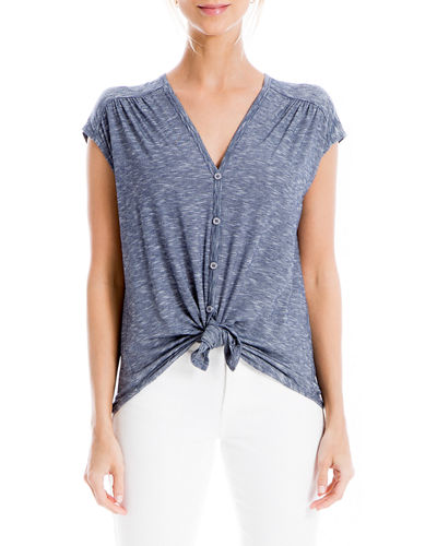Tie-Front Button-Down Top