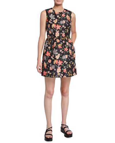 Floral-Print Sleeveless Fit-and-Flare Dress