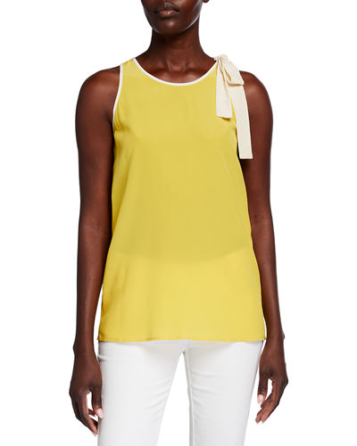 Crewneck Bow Detail Silk Tank top