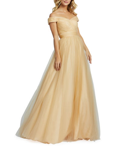 Off-the-Shoulder Short-Sleeve Tulle A-Line Gown