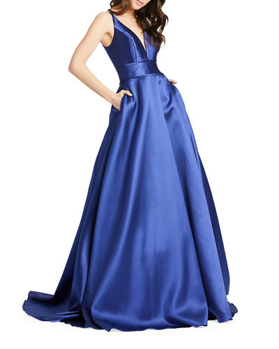 Sleeveless Plunging V-Neck Mikado Ball Gown