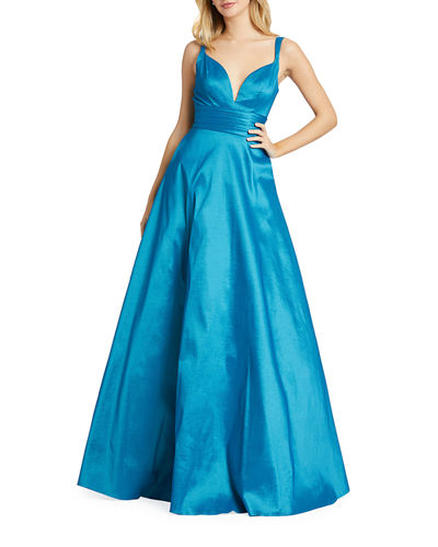 Plunge V-Neck Sleeveless Ruched Empire-Waist Gown with Pockets