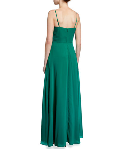 Cambria Faux-Knot Gown w/ Front Slit