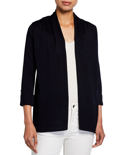 3/4-Sleeve Shirred Neck Jersey Cardigan