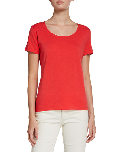 Cotton-Blend Solid Short-Sleeve Top