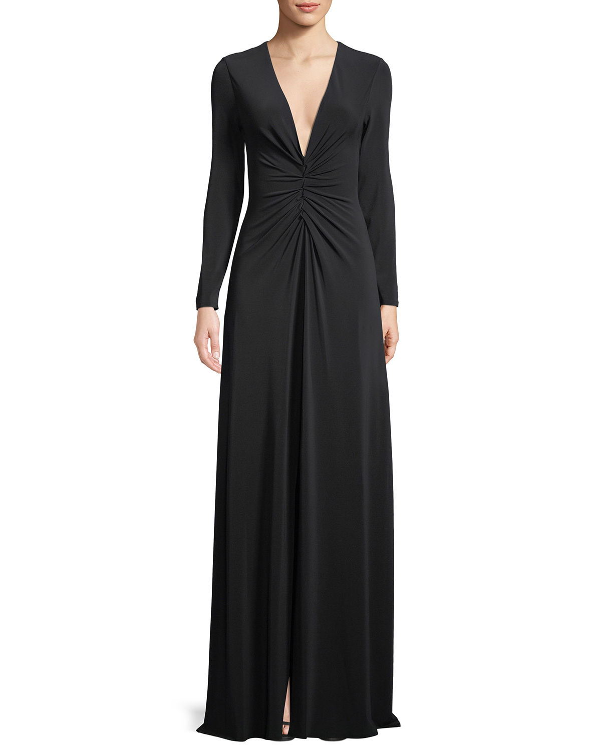 Halston LONG-SLEEVE RUCHED-FRONT V-NECK GOWN