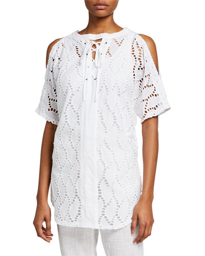 Olena Lace-Up Eyelet-Back Blouse