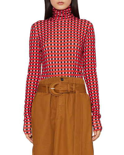 Checkered Long-Sleeve Jersey Turtleneck Top