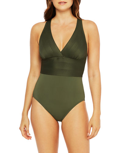 Mio Multi-Strap Cross-Back One-Piece Swimsuit