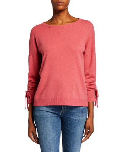 Crewneck Ruched Long-Sleeve Cashmere Sweater