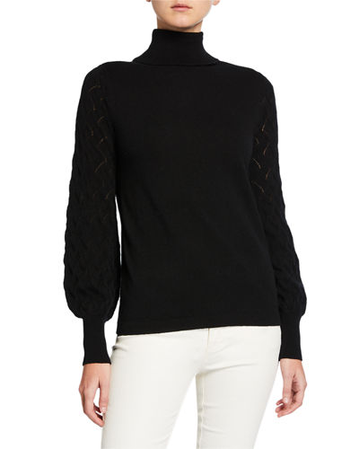 Blouson-Sleeve Turtleneck Cashmere Sweater