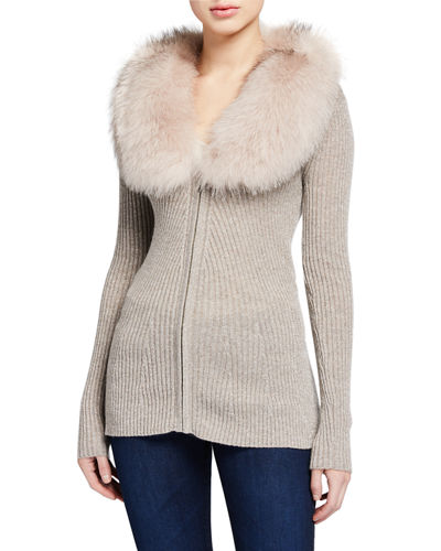 Zip-Front Cashmere Rib Sweater with Fur Collar