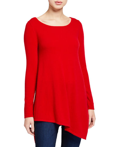 Boat-Neck Long-Sleeve Asymmetric Cashmere Sweater