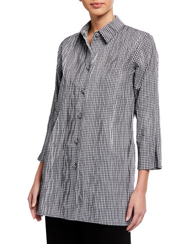 Petite Gingham Crinkled Tunic Shirt
