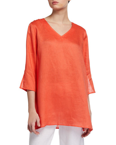 Plus Size V-Neck Tissue Linen Easy Tunic