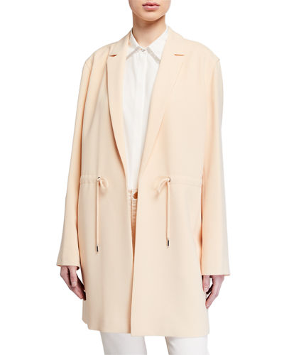 Pierre Finesse-Crepe Jacket w/ Adjustable Cord