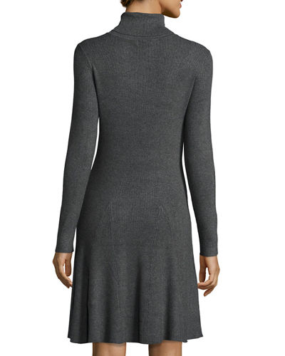 Ribbed-Knit Turtleneck Sweaterdress
