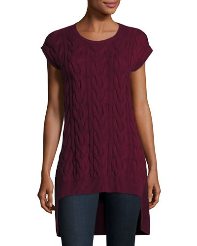 Sleeveless Cable-Knit Sweater Tunic