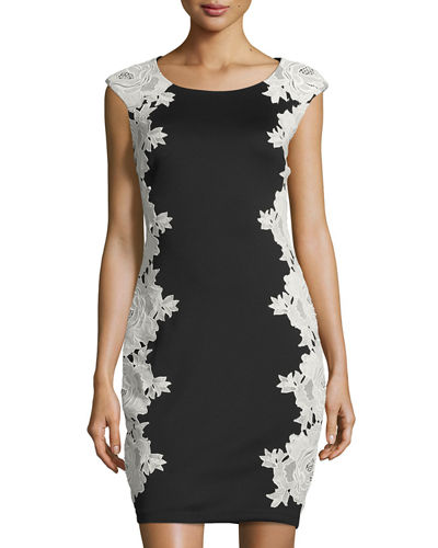 892012e3 JAX Floral Lace Applique Sheath Dress