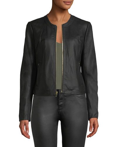 Zip-Front Leather Jacket