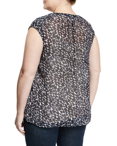 Dot-Print Cap-Sleeve Blouse, Plus Size